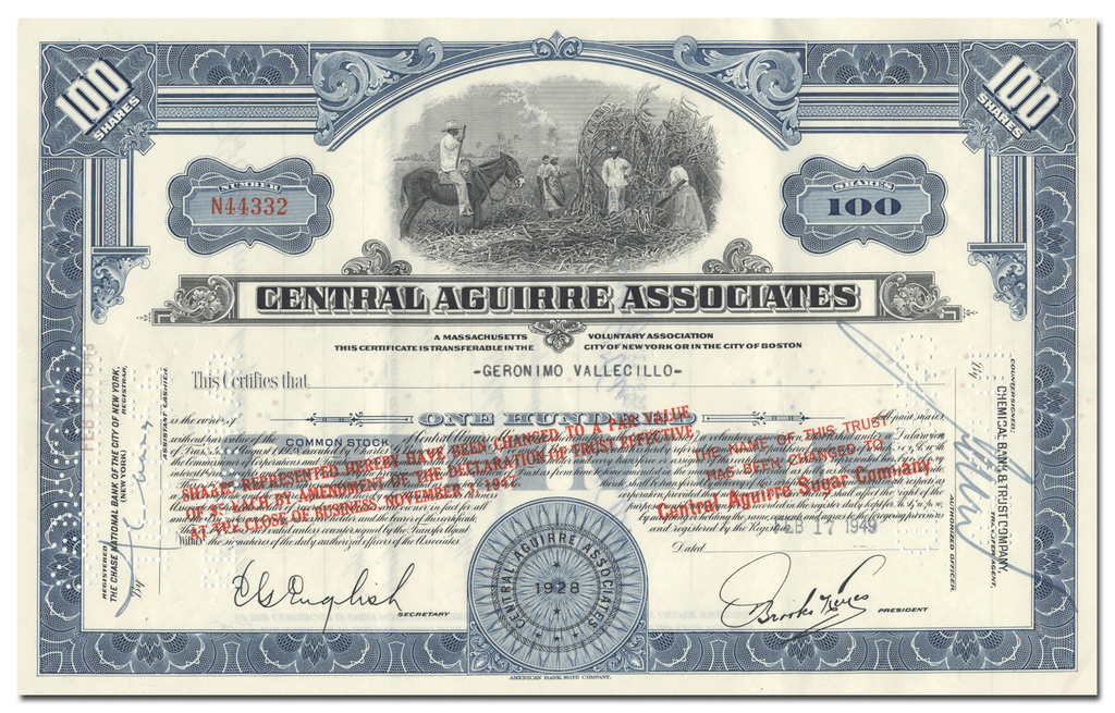 Central Aguirre Associates Stock Certificate