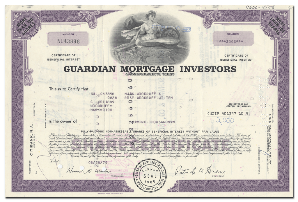 Guardian Mortgage Investors Stock Certificate