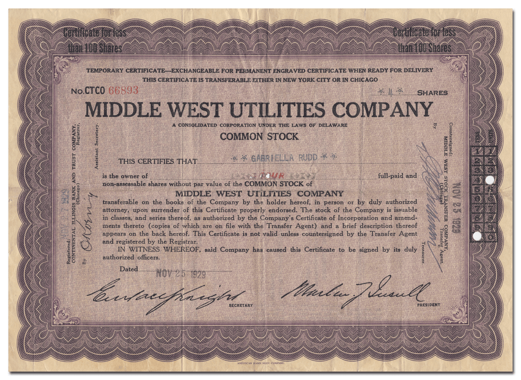Middle West Utilities Company Stock Certificate