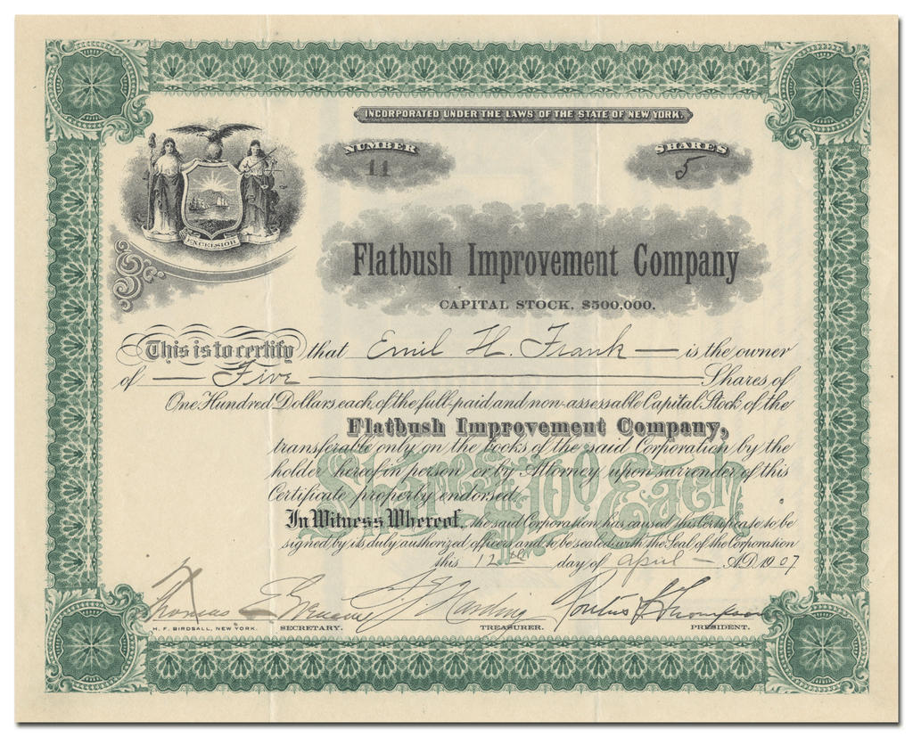 Flatbush Improvement Company Stock Certificate
