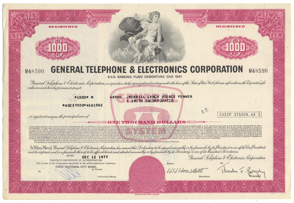 General Telephone & Electronics Corporation Bond Certificate