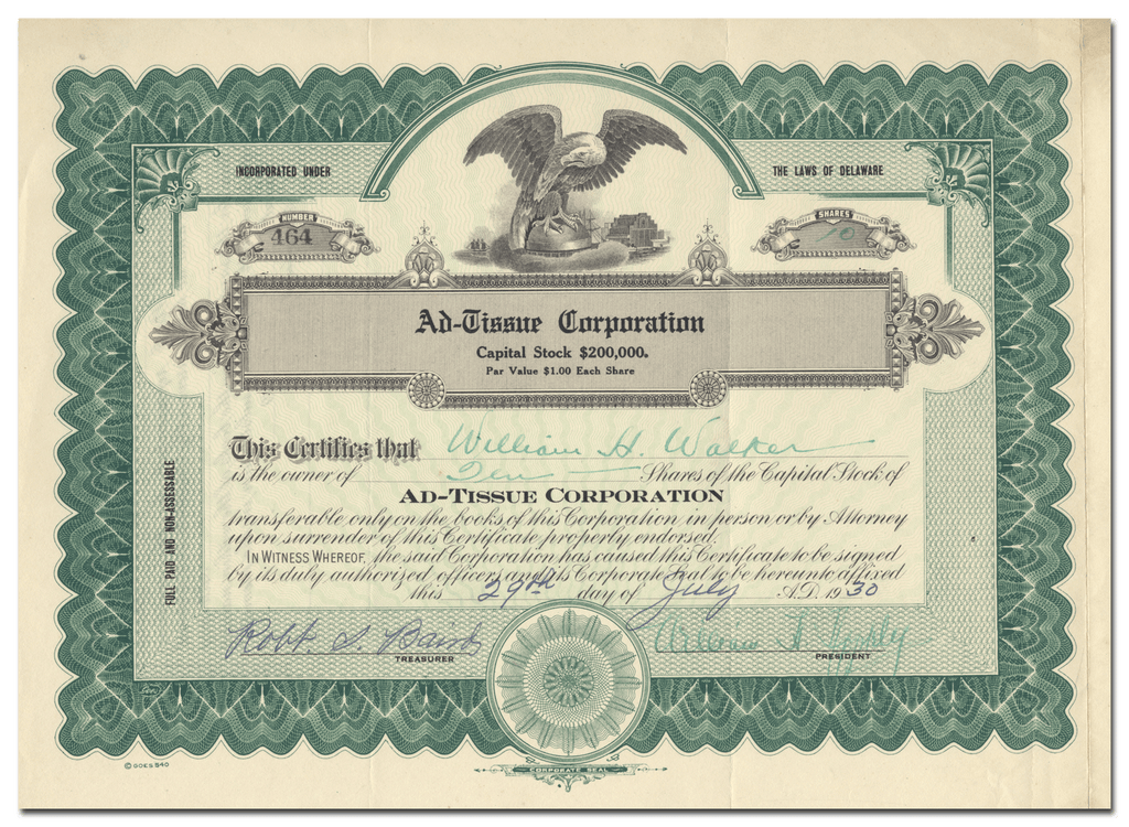 Ad-Tissue Corporation Stock Certificate