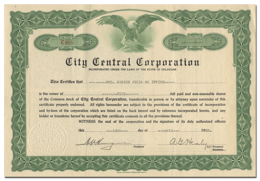 City Central Corporation Stock Certificate