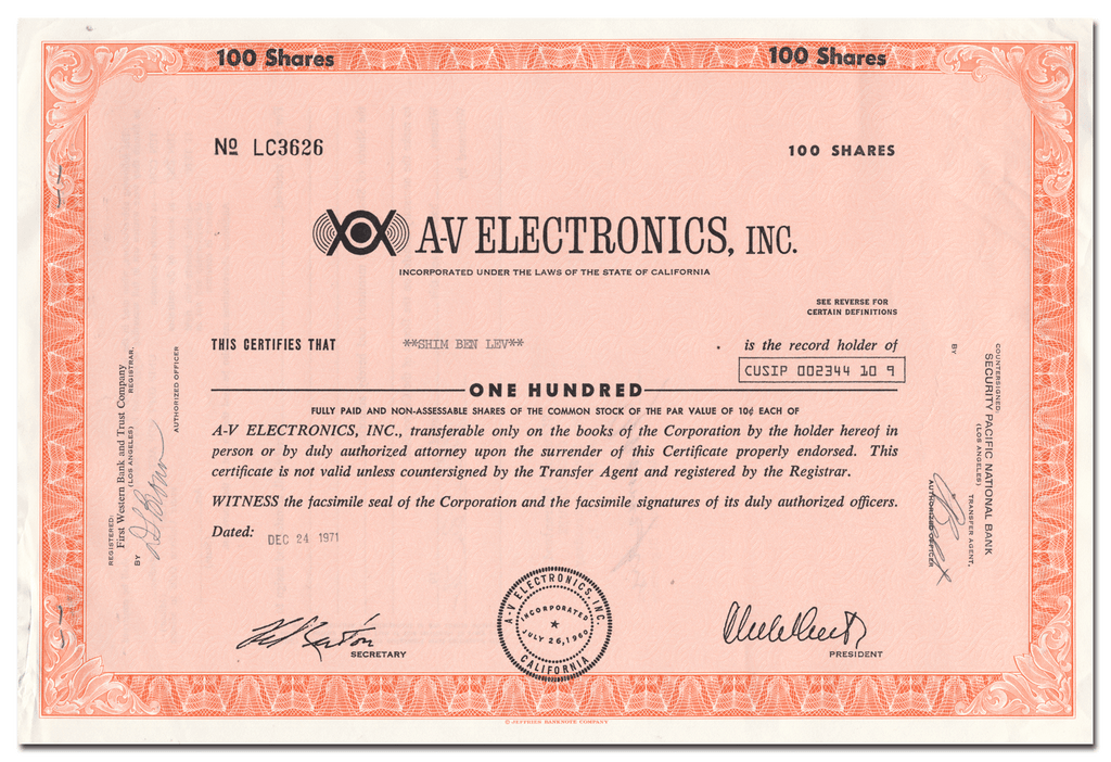 A-V Electronics, Inc. Stock Certificate