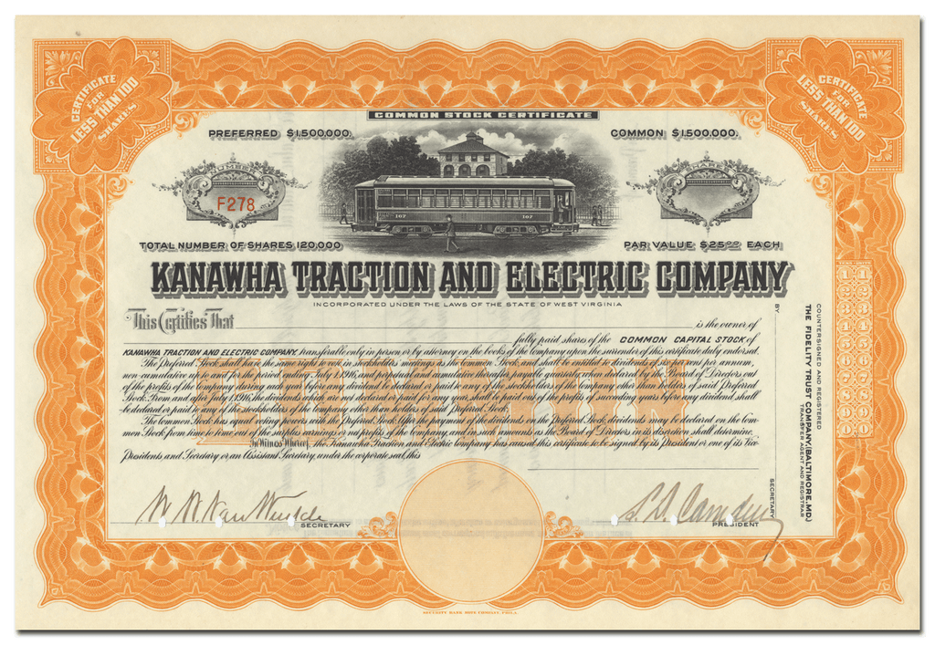 Kanawha Traction and Electric Company Stock Certificate