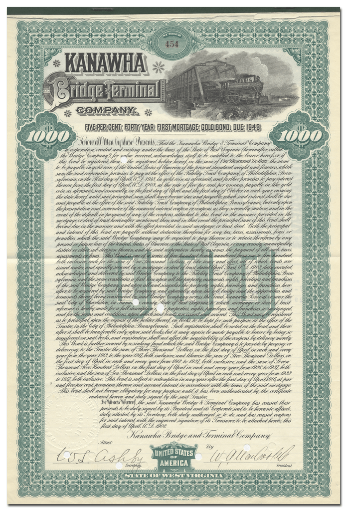 Kanawha Bridge and Terminal Company Bond Certificate