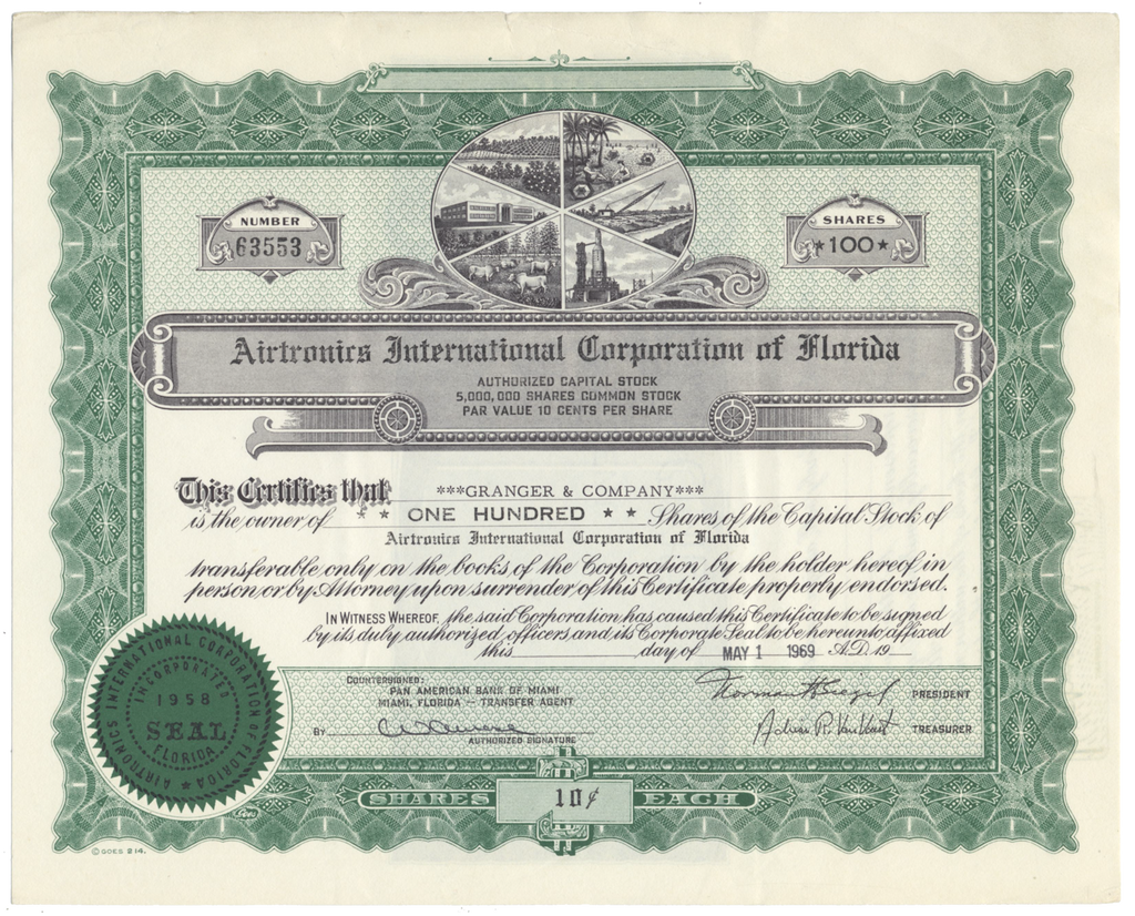 Airtronics International Corporation of Florida Stock Certificate