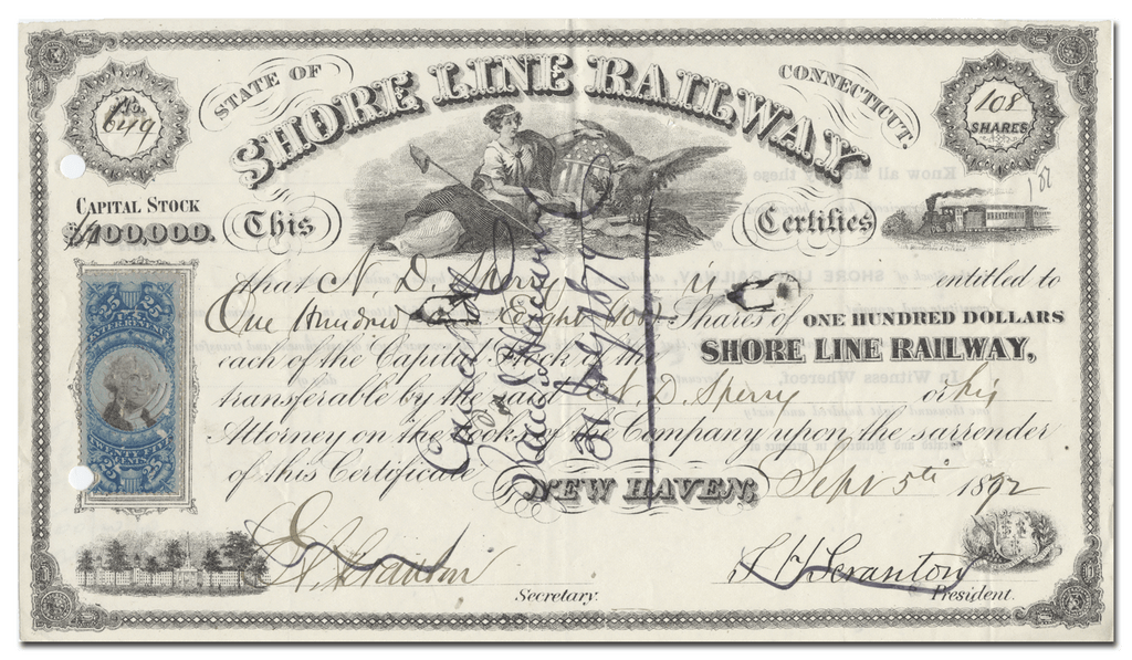 Shore Line Railway Stock Certificate