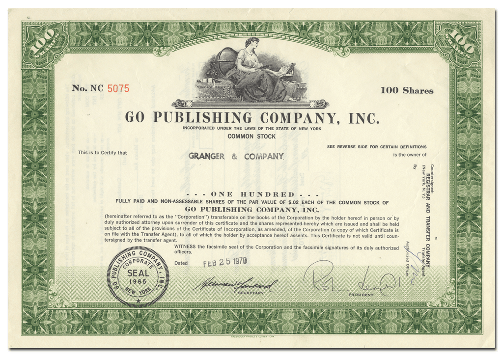 Go Publishing Company, Inc. Stock Certificate