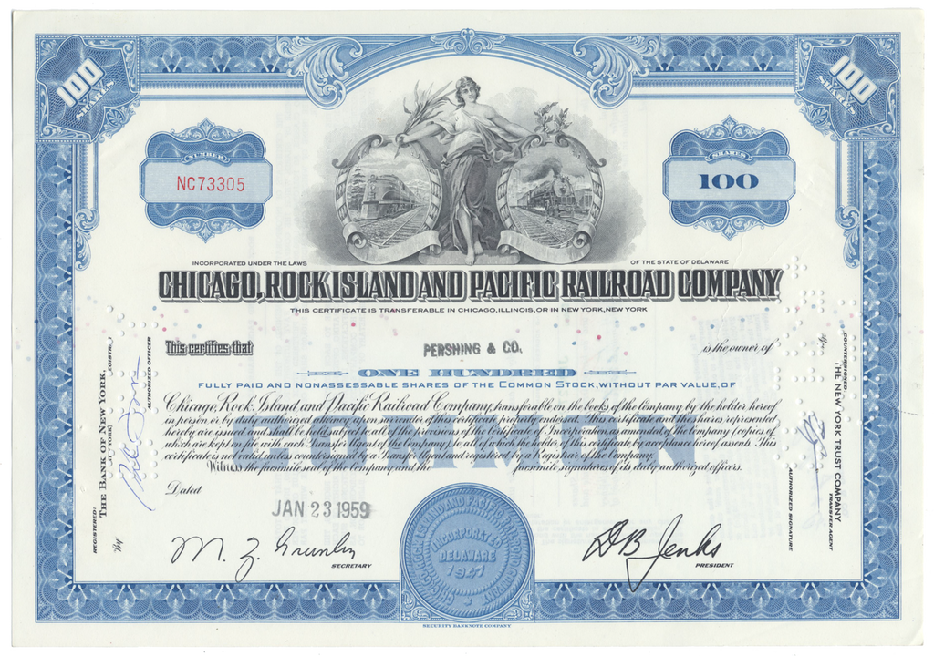 Chicago, Rock Island and Pacific Railroad Company Stock Certificate