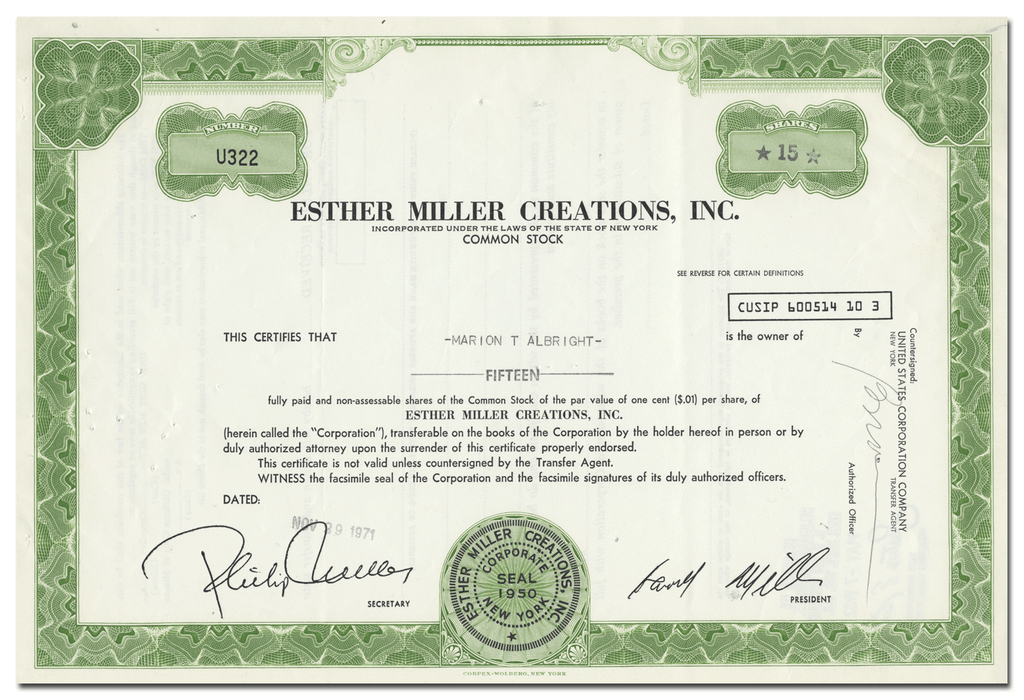 Esther Miller Creations, Inc. Stock Certificate