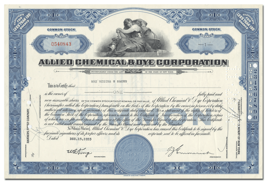 Allied Chemical & Dye Corporation Stock Certificate