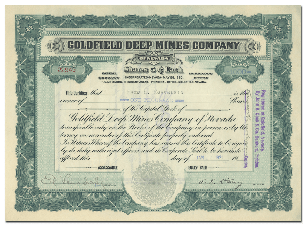 Goldfield Deep Mines Company Stock Certificate