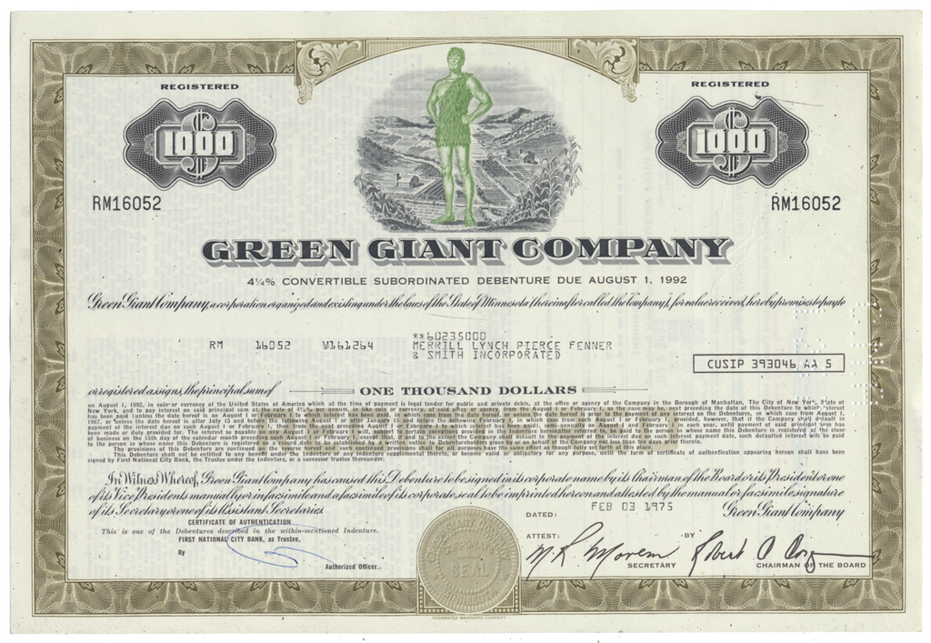 Green Giant Company Bond Certificate