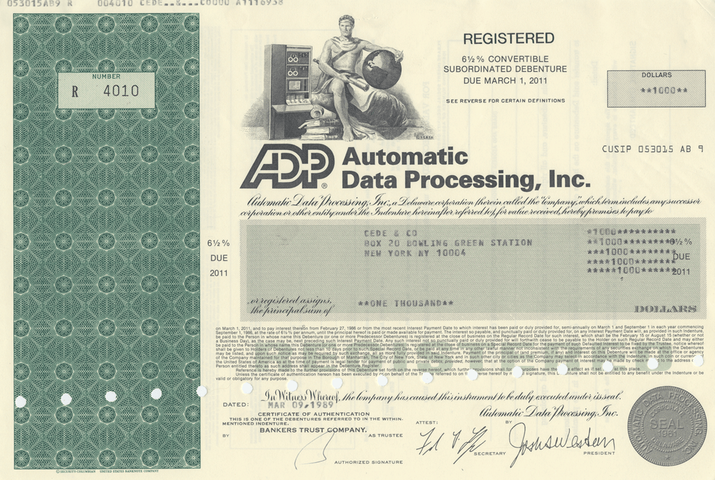 Automatic Data Processing, Inc. Bond Certificate