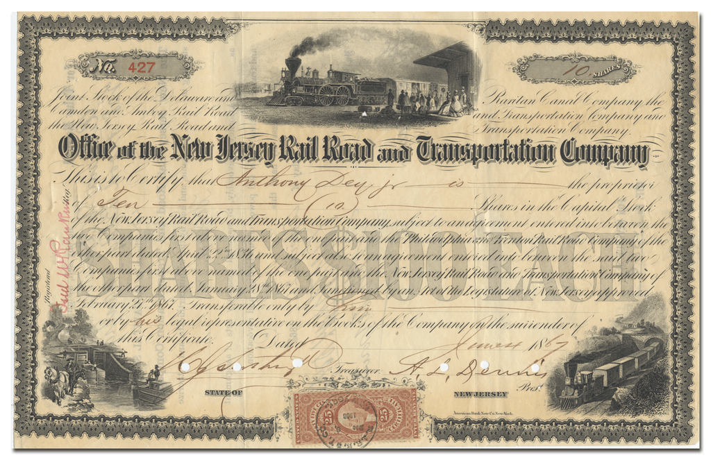 New Jersey Rail Road and Transportation Company Stock Certificate