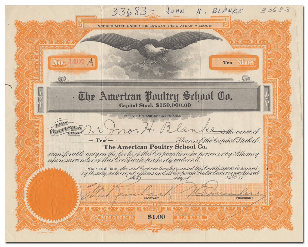 American Poultry School Co. Stock Certificate