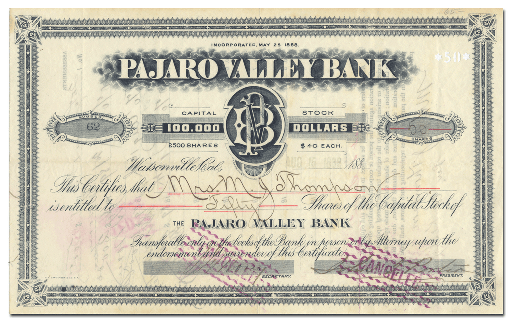 Pajaro Valley National Bank Stock Certificate