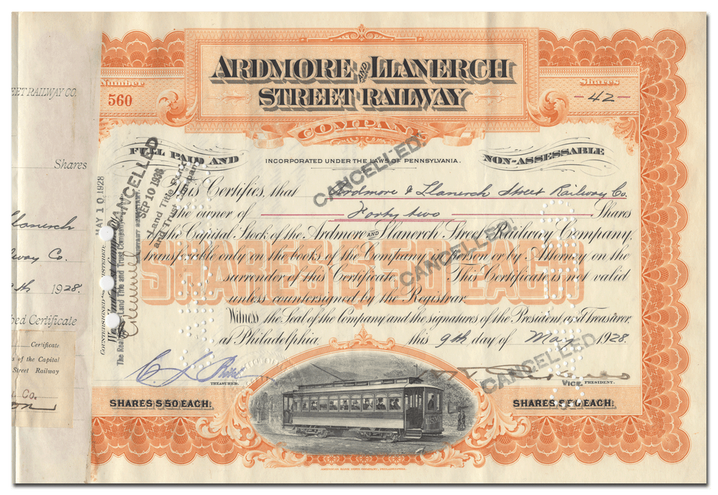 Ardmore and Llanerch Street Railway Company Stock Certificate