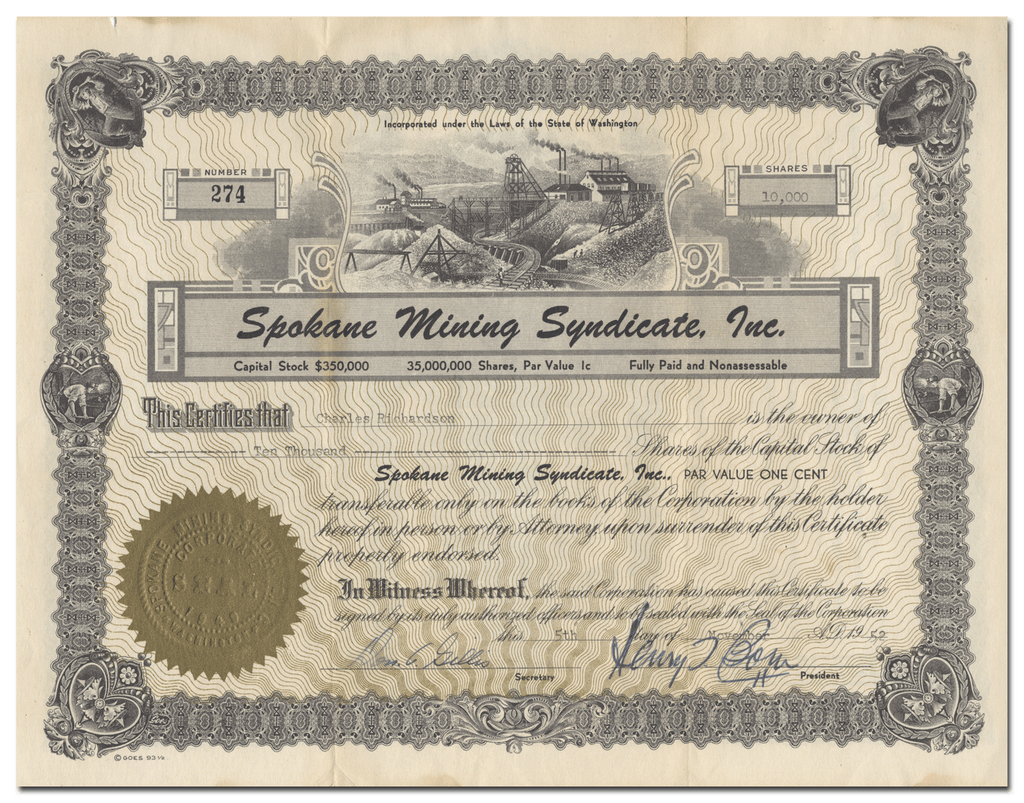 Spokane Mining Syndicate, Inc. Stock Certificate