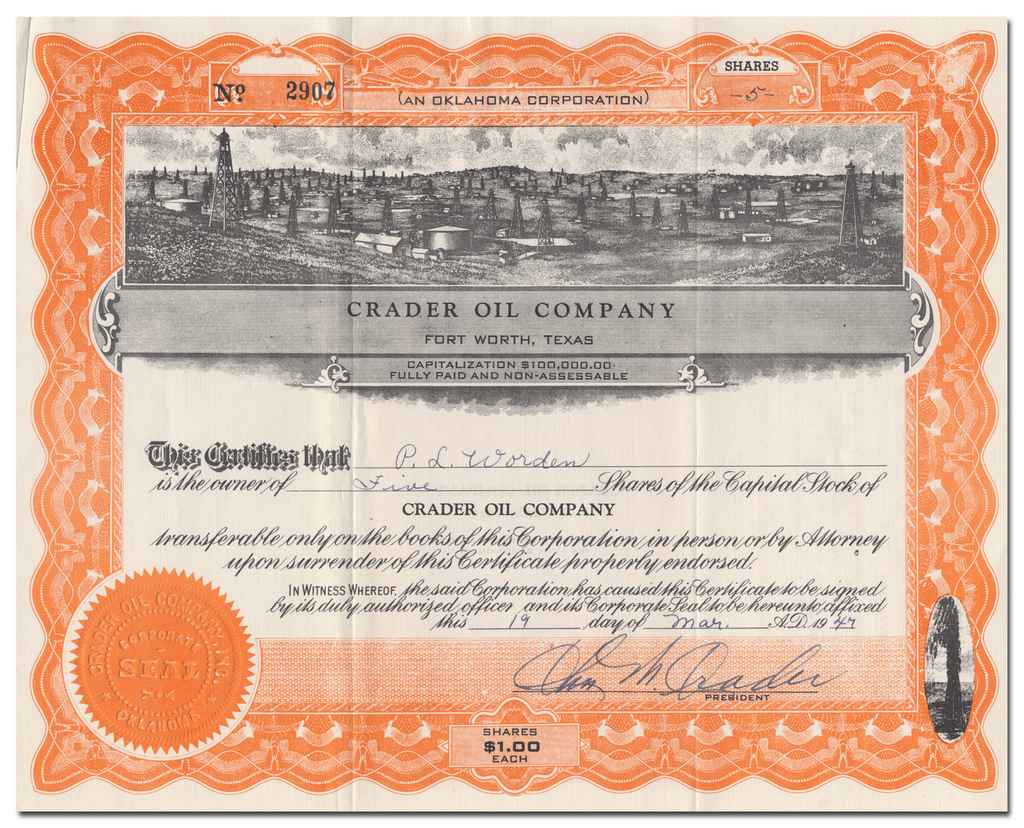 Crader Oil Company Stock Certificate
