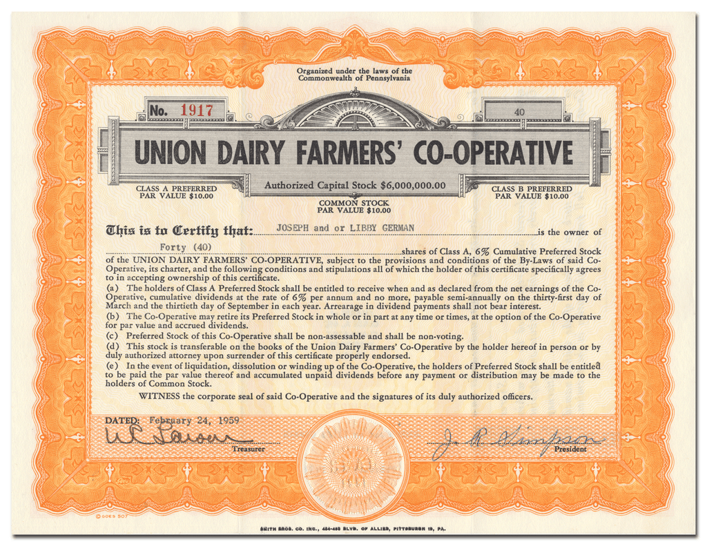 Union Dairy Farmers' Co-Operative Stock Certificate