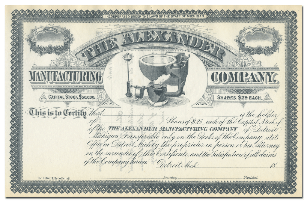 Alexander Manufacturing Company Stock Certificate