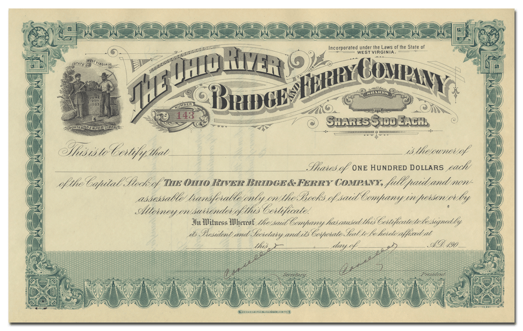 Ohio River Bridge and Ferry Company Stock Certificate