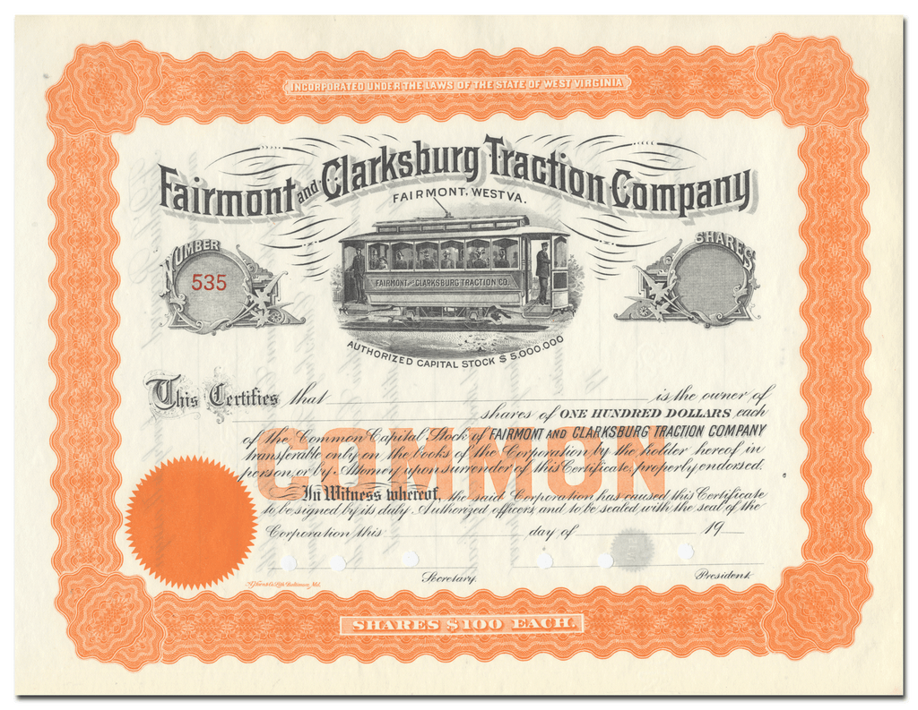 Fairmont and Clarksburg Traction Company Stock Certificate