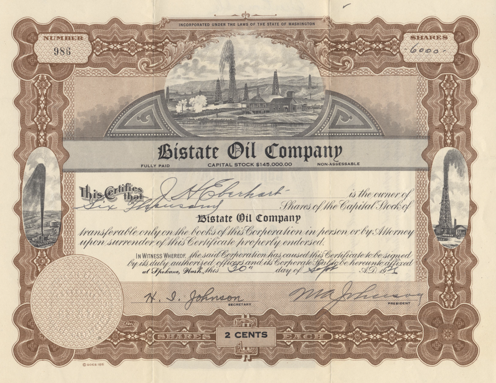 Bistate Oil Company Stock Certificate