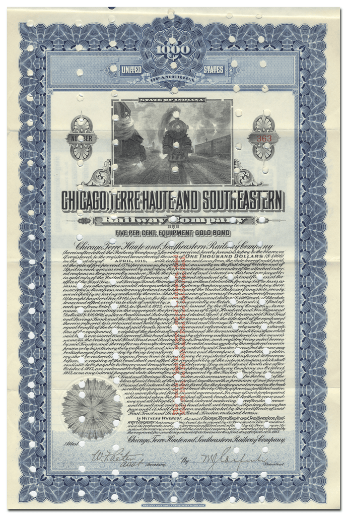 Chicago, Terre Haute and Southeastern Railway Company Bond Certificate