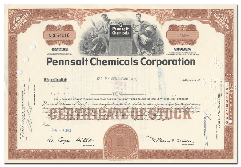 Pennsalt Chemical Corporation Stock Certificate