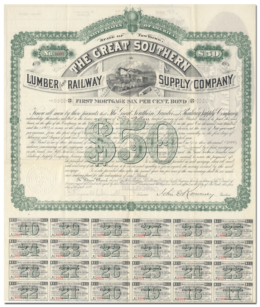 Great Southern Lumber and Railway Supply Company Bond Certificate