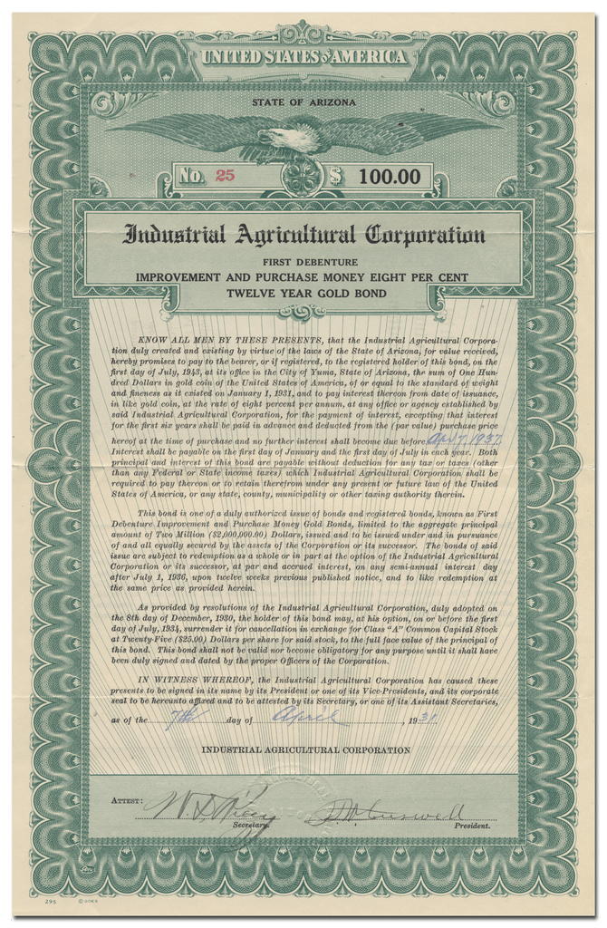 Industrial Agricultural Corporation Bond Certificate
