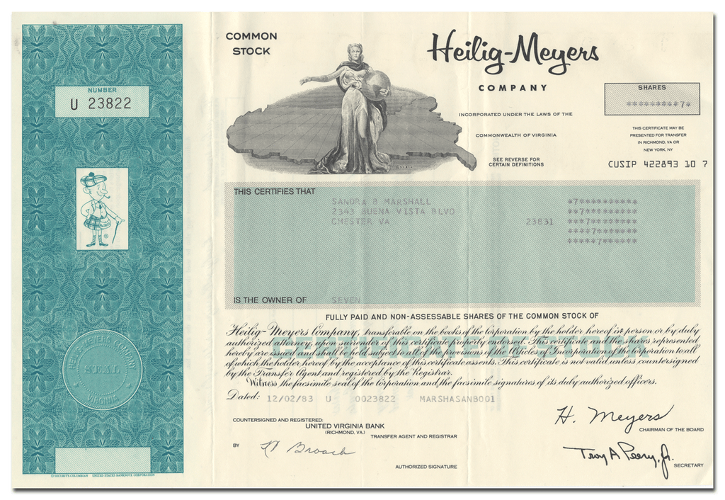 Heilig-Meyers Company Stock Certificate