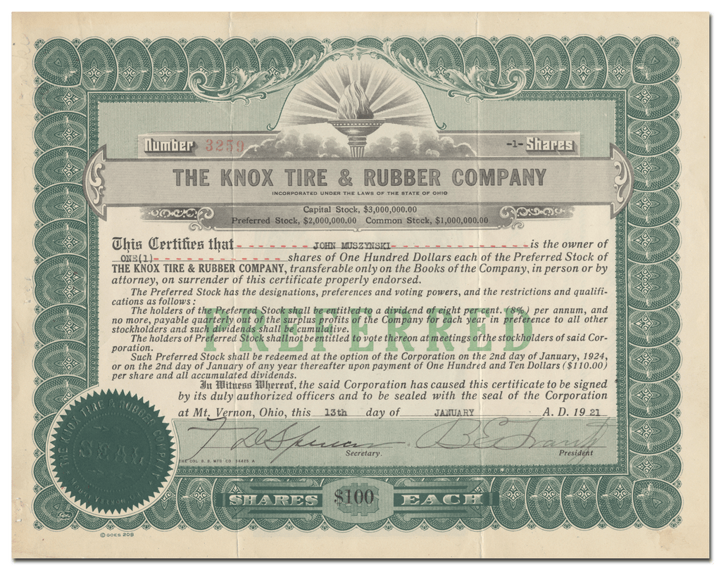 Knox Tire & Rubber Company Stock Certificate