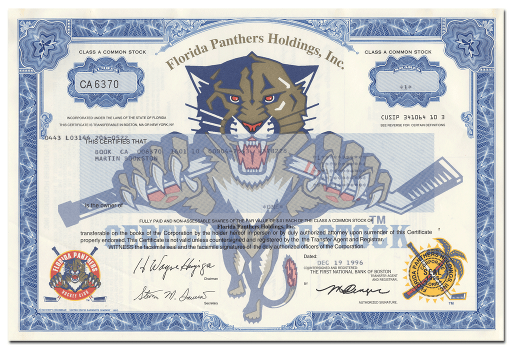 Florida Panthers Holdings, Inc. Stock Certificate