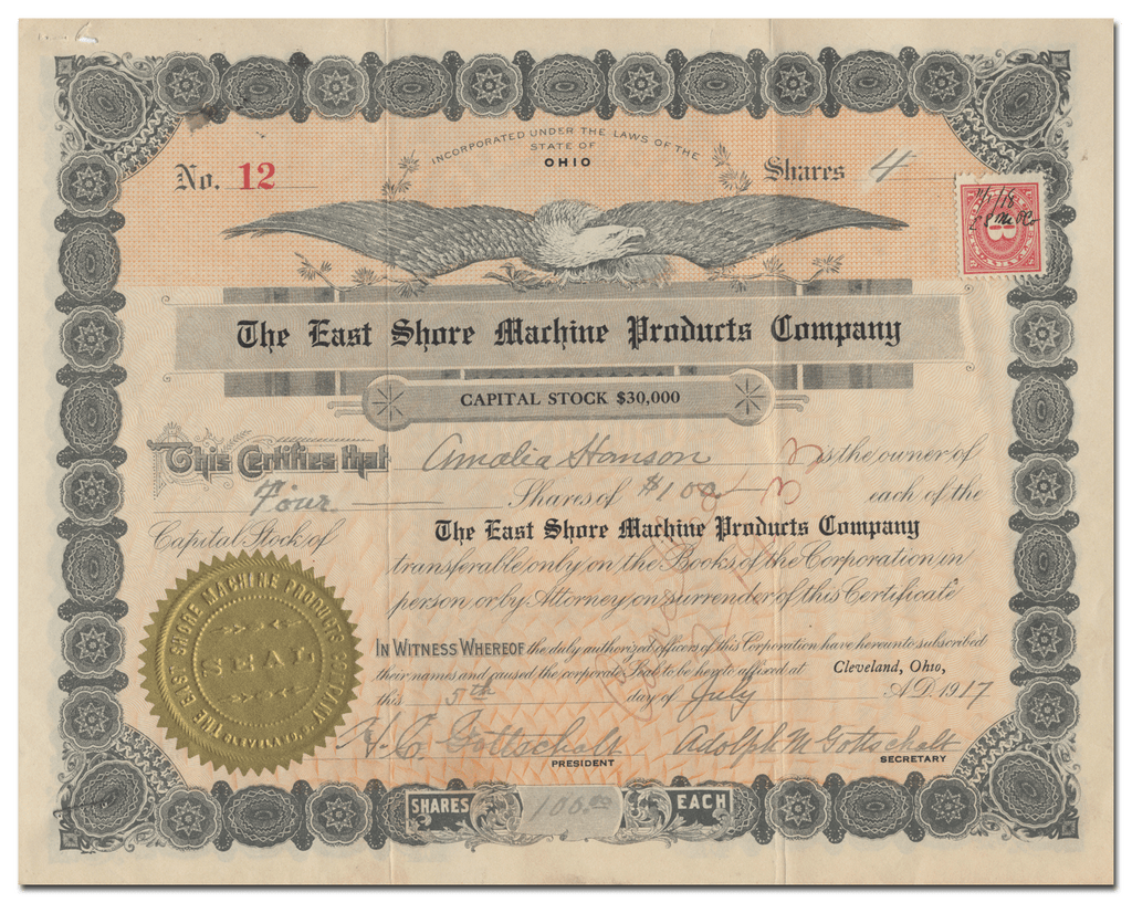 East Shore Machine Products Company Stock Certificate