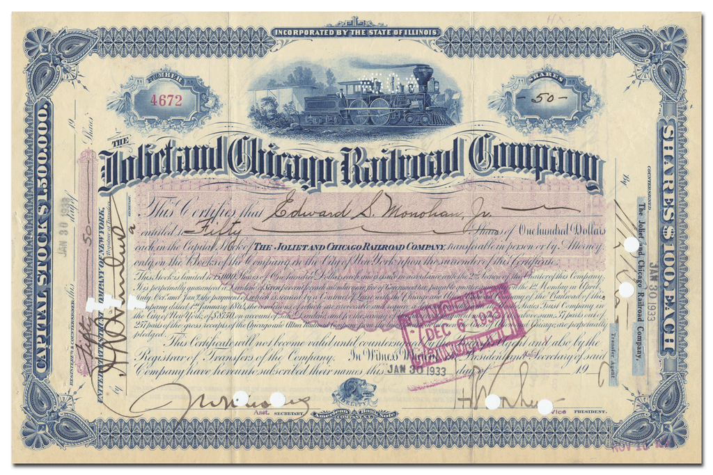 Joliet and Chicago Railroad Company Stock Certificate