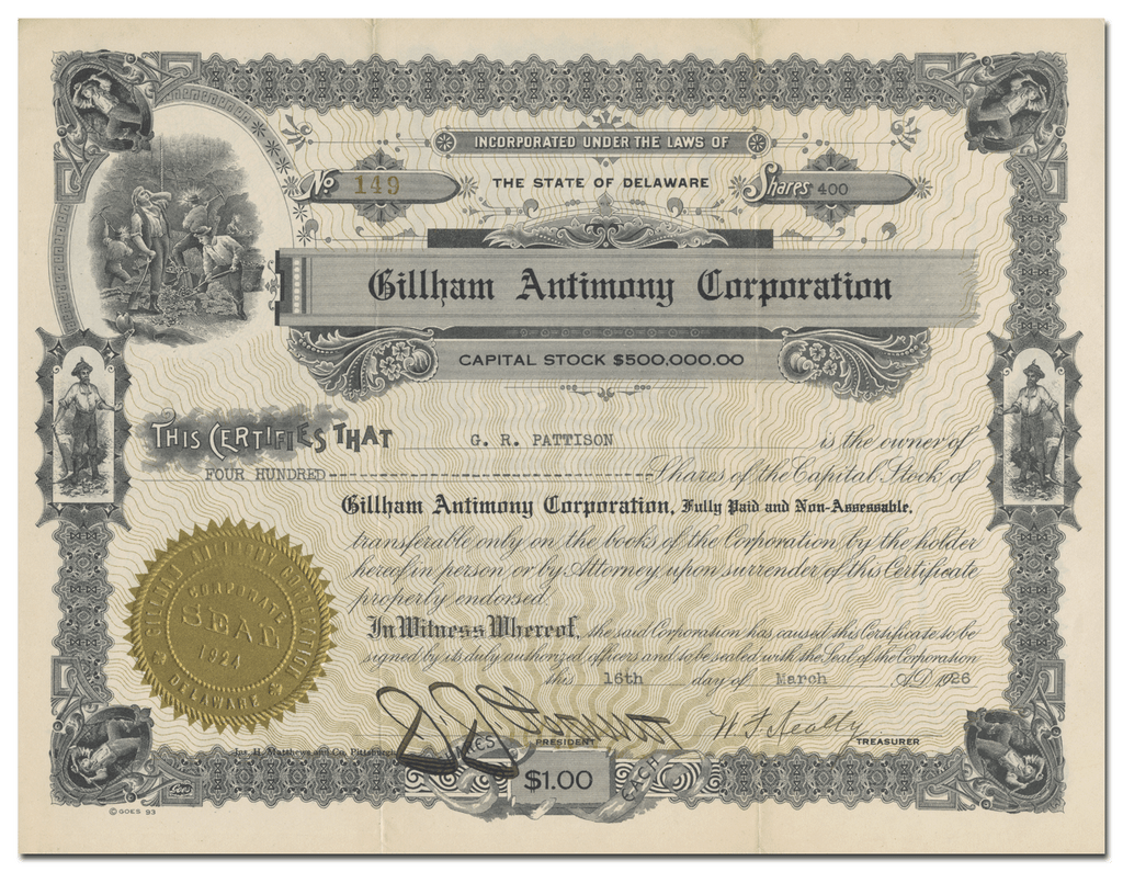 Gillham Antimony Corporation Stock Certificate