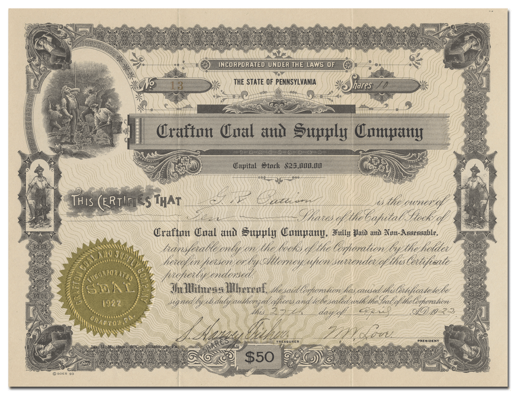 Crafton Coal and Supply Company Stock Certificate