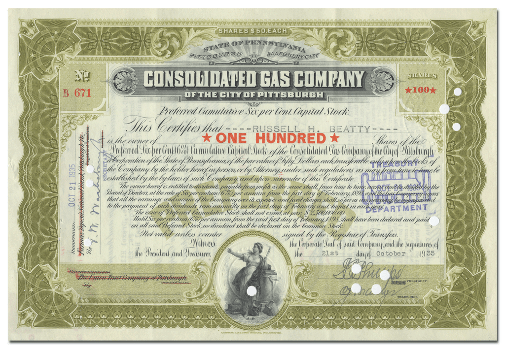 Consolidated Gas Company of the City of Pittsburgh Stock Certificate