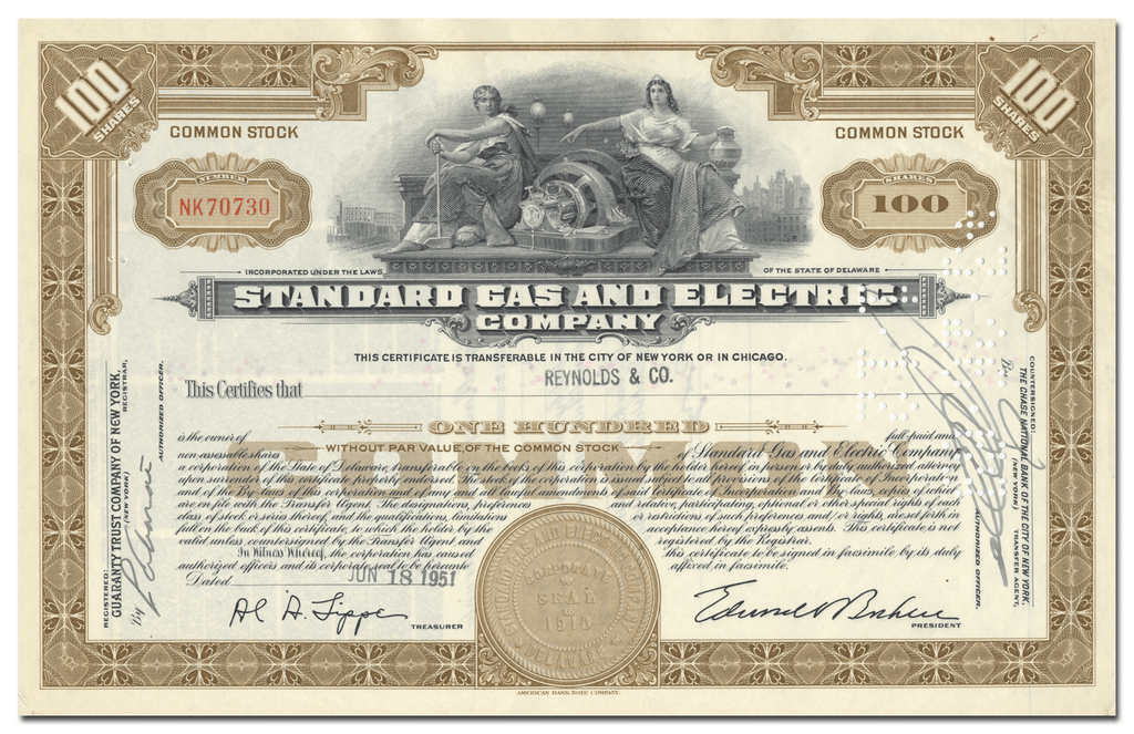 Standard Gas and Electric Company Stock Certificate