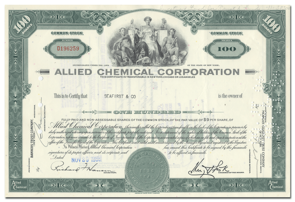 Allied Chemical Corporation Stock Certificate