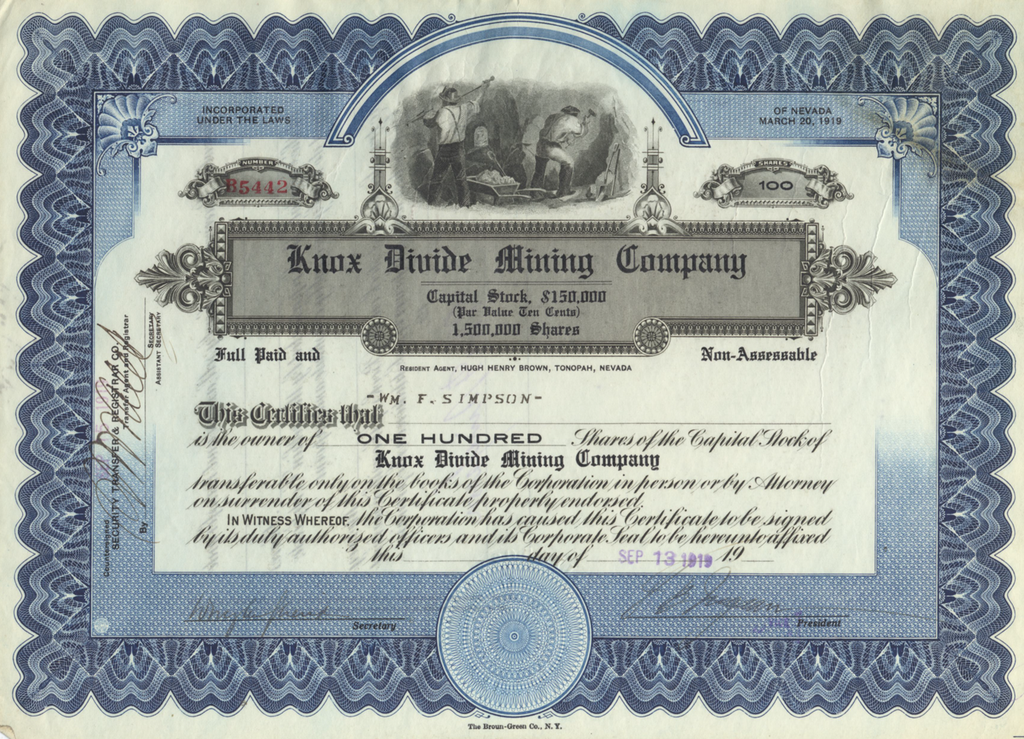 Knox Divide Mining Company Stock Certificate