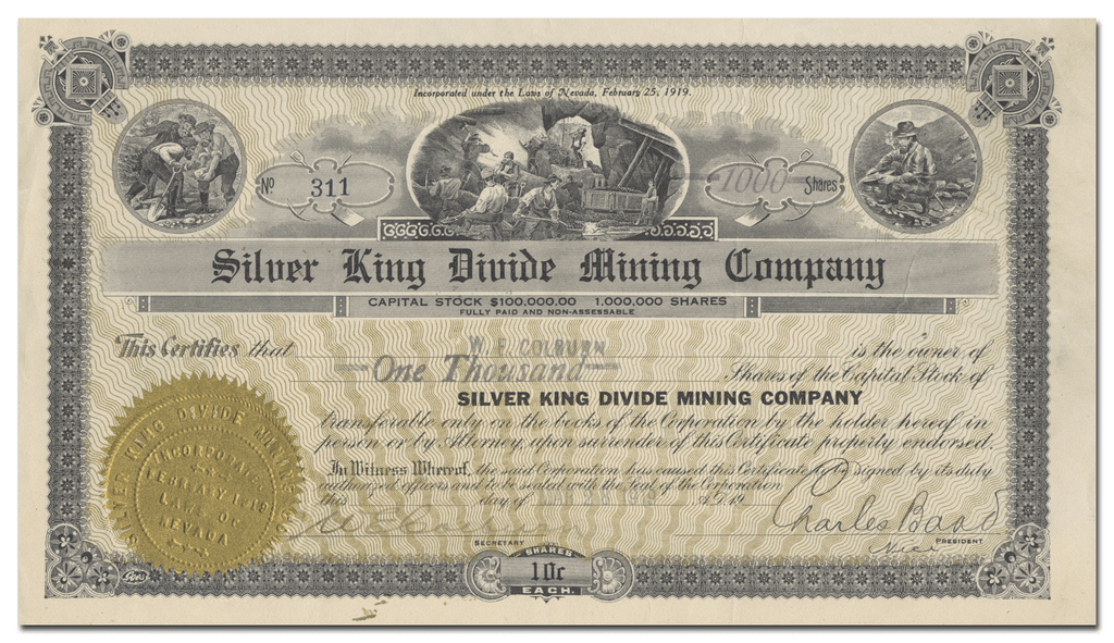 Silver King Divide Mining Company Stock Certificate