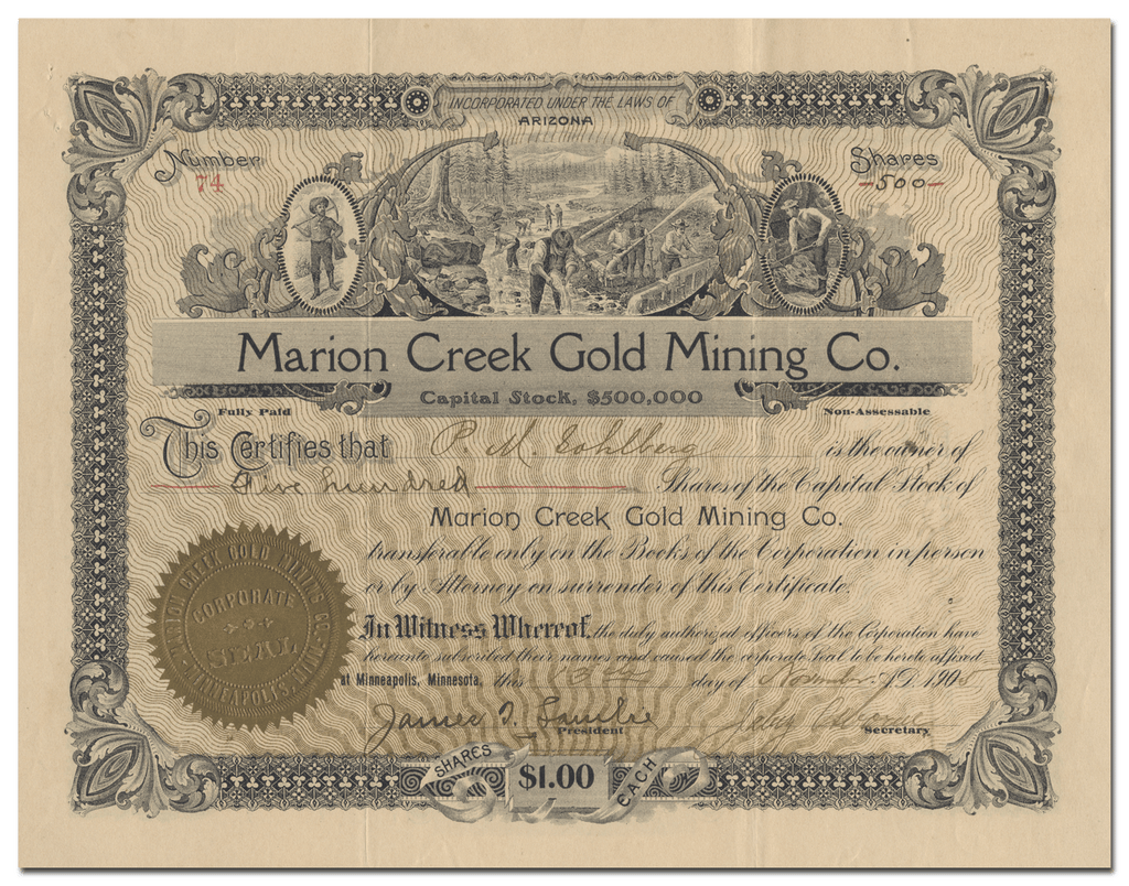 Marion Creek Gold Mining Co. Stock Certificate
