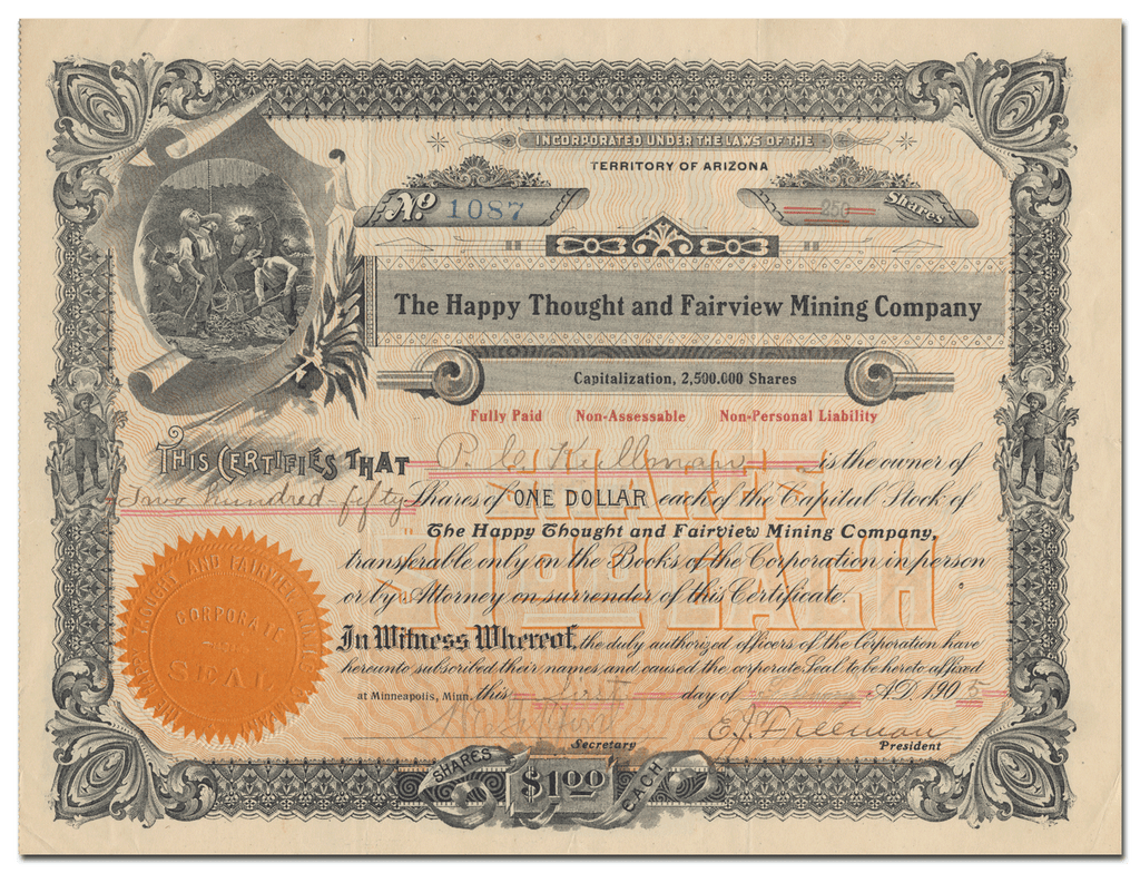 Happy Thought and Fairview Mining Company Stock Certificate