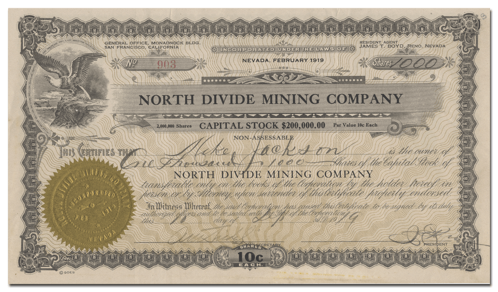 North Divide Mining Company Stock Certificate