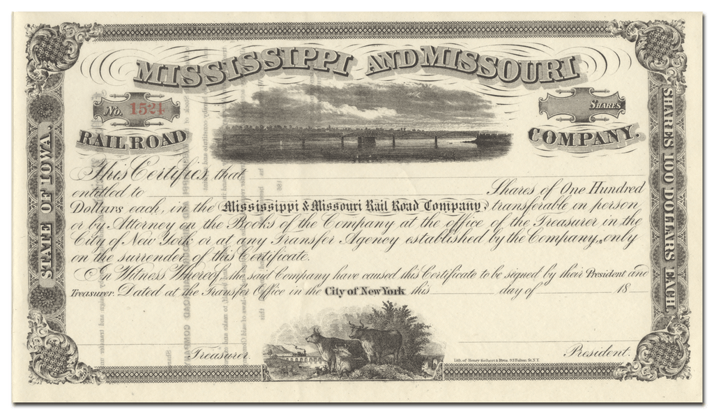 Mississippi and Missouri Rail Road Company Stock Certificate